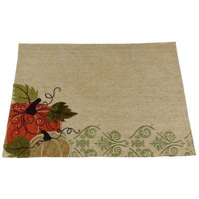13 in. x 18 in. Pumpkin Embroidered Polyester With Suede Accents Collection Placemat