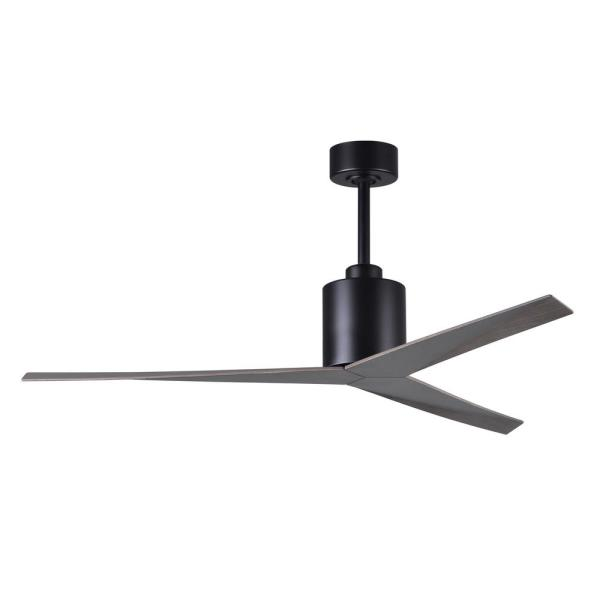 Eliza 56 in. Indoor/Outdoor Matte Black Ceiling Fan with Old Oak Tone Blades and Hand Held Remote/Wall Control