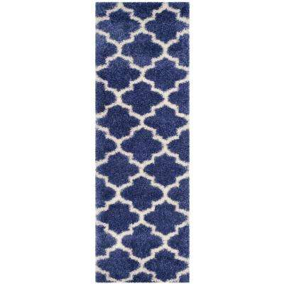 Montreal Shag Periwinkle/Ivory 2 ft. 3 in. x 7 ft. Runner Rug