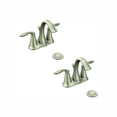 Eva 4 in. Centerset 2-Handle High-Arc Bathroom Faucet in Brushed Nickel (2-Pack)