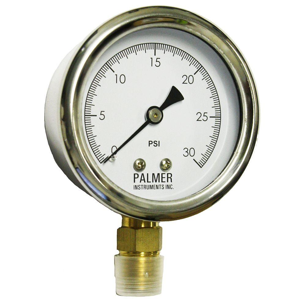 Palmer Instruments 2.5 in. Dial 30 psi Stainless Steel Case Gauge