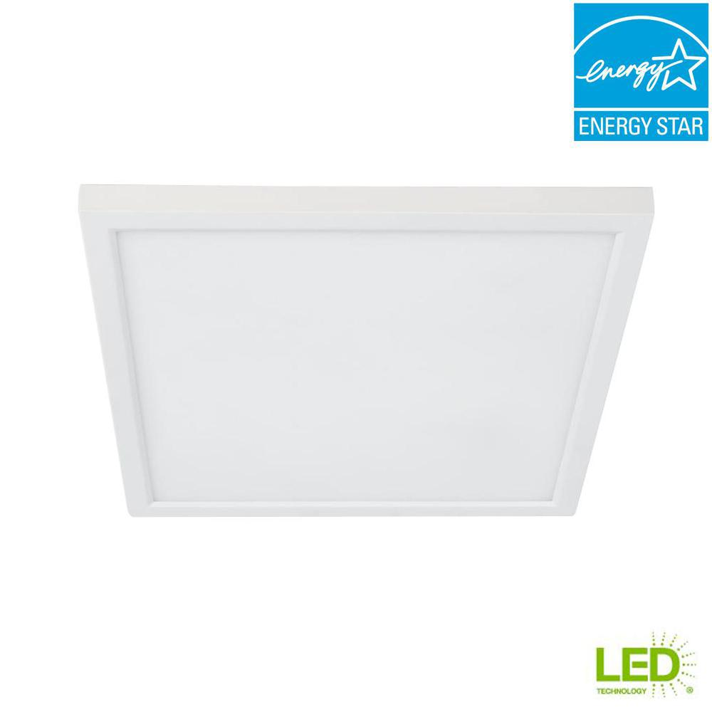 5/6 in./J-Box 12-Watt Dimmable White Integrated LED Square Flat Panel Ceiling