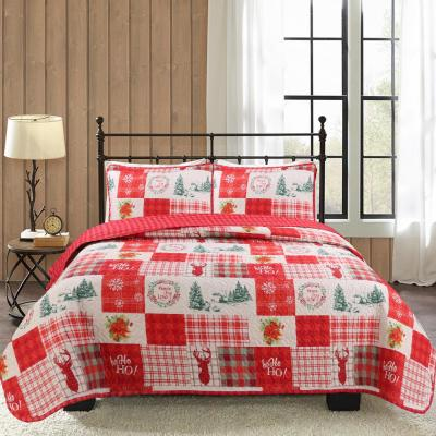 Holiday Patchwork 2-Piece Red Microfiber Twin Quilt Set