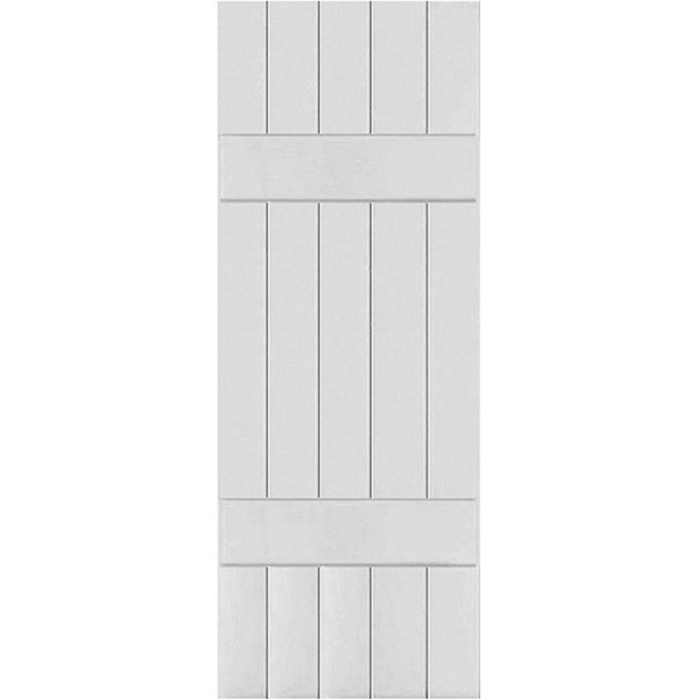 Ekena Millwork 18 in. x 79 in. Exterior Composite Wood Board and Batten Shutters Pair Primed