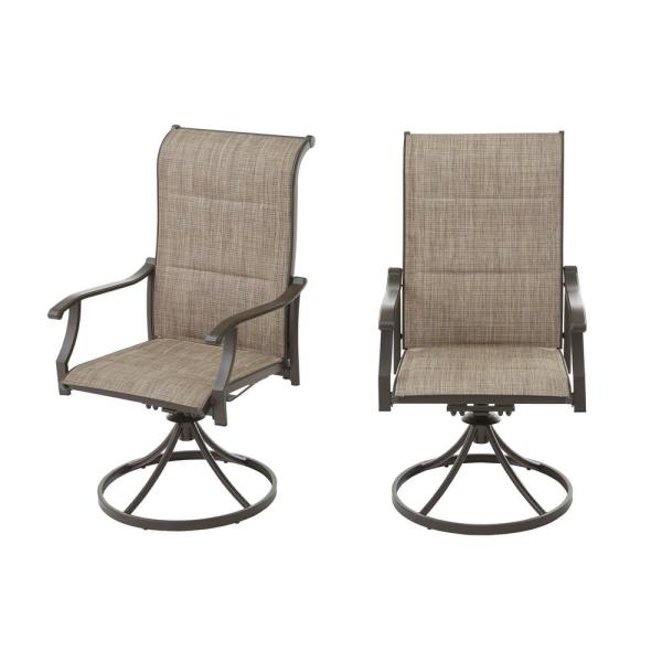Riverbrook Espresso Brown Swivel Aluminum Padded Sling Outdoor Patio Dining Chairs (2-Pack)