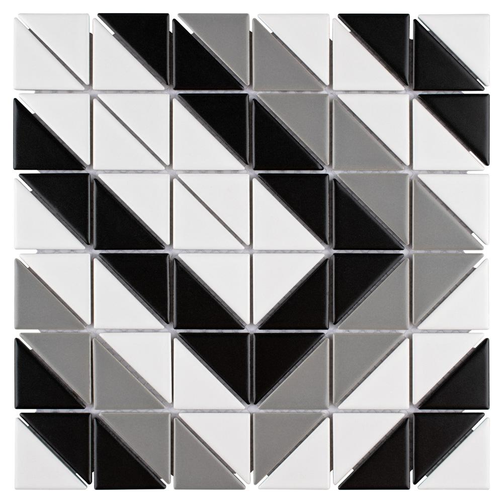 Merola Tile Tre Rectangle Classic Mix 10-3/4 in. x 10-3/4 in. x 6 mm Porcelain Mosaic Tile (8.21 sq. ft. / case)