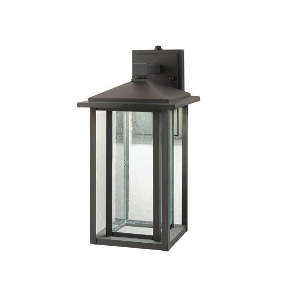 Home Decorators Collection Mauvo Canyon Collection Black Outdoor Seeded Glass Dusk To Dawn Wall Lantern Sconce Kb 06005 Del The Home Depot