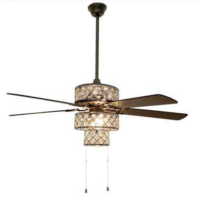 Triple-Tiered Pierced Metal 52 in. Clear Crystal LED Ceiling Fan With Light