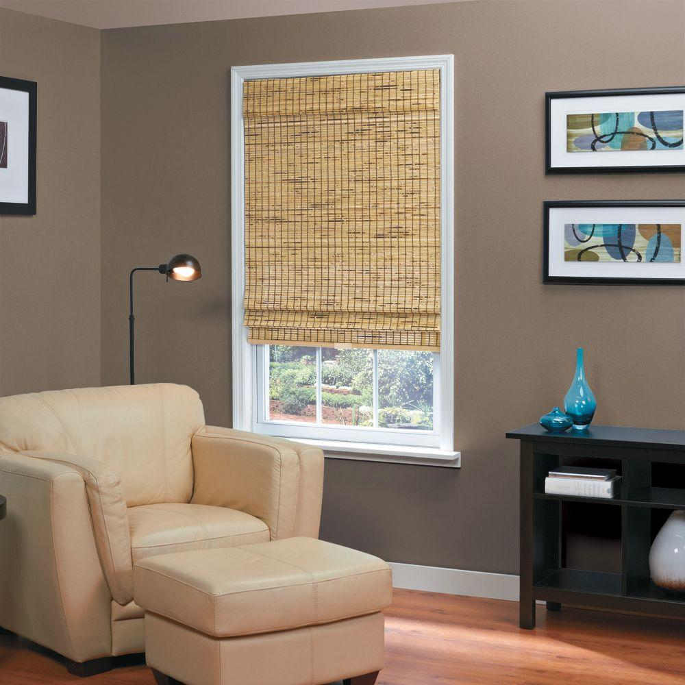 Burnout Natural Woven Bamboo Cordless Roman Shade - 35 in. W