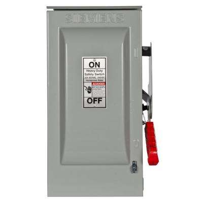 Heavy Duty 30 Amp 600-Volt 3-Pole Outdoor Fusible Safety Switch with Neutral