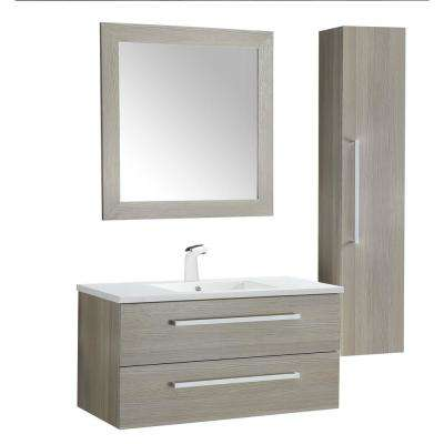 Conques 39 in. W x 20 in. H Bath Vanity in Rich Gray with Ceramic Vanity Top in White with White Basin and Mirror