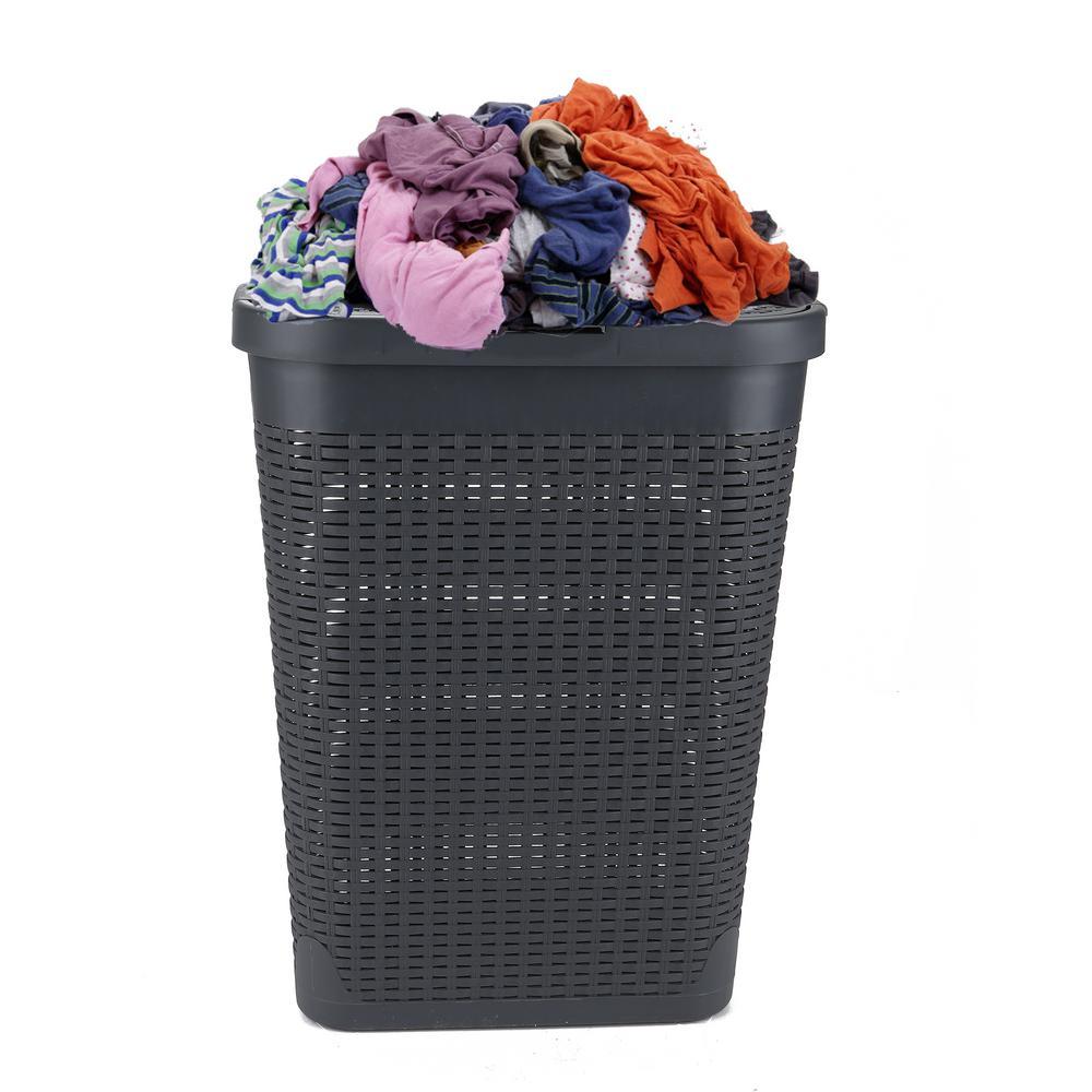 40 l Grey Plastic Slim Laundry Basket Laundry Hamper with Cutout Handles Dirty Clothes Storage