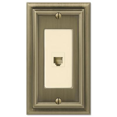 Continental 1 Gang Phone Metal Wall Plate - Brushed Brass