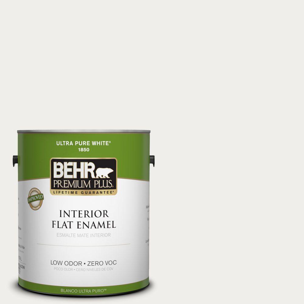 BEHR Premium Plus 1-gal. #T11-13 Fuji Snow Zero VOC Flat Enamel Interior Paint-DISCONTINUED