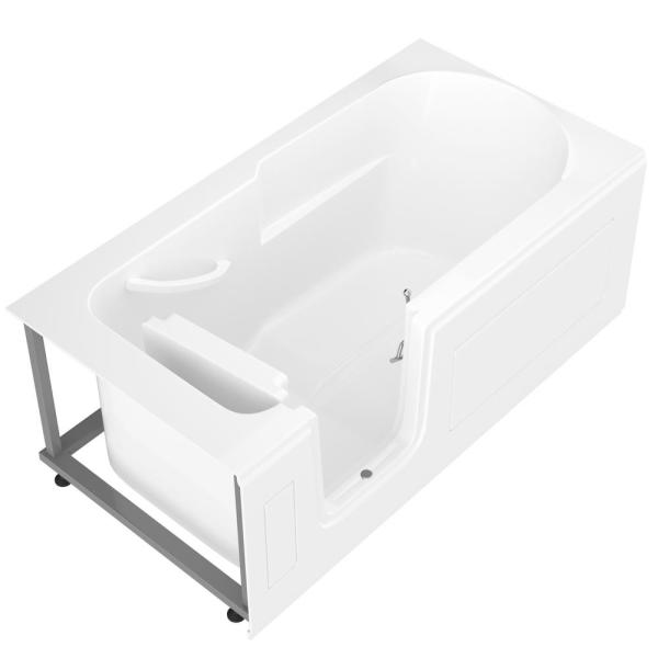 Universal Tubs Hd Series 60 In Left Drain Step In Walk In Soaking Bath Tub With Low Entry Threshold In White Hdsi3060lws The Home Depot