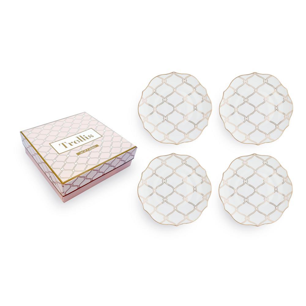 Trellis Scalloped Plate (Set of 4)