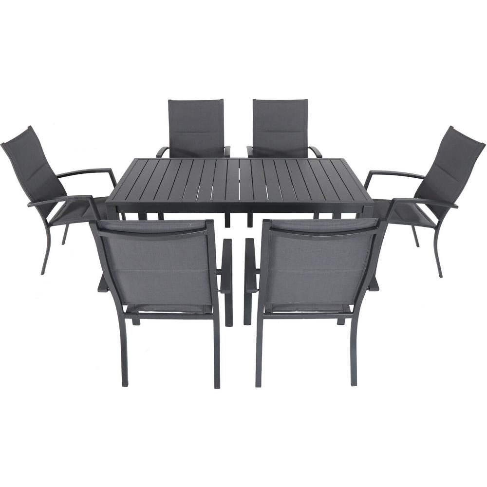 Cambridge Nova 10-Piece Aluminum Outdoor Dining Set with 10-Padded Sling  Chairs in Gray and 103 in. x 10 in. Dining Table-NOVADNS10PCHB-GRY - The Home