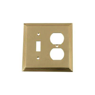 Deco Switch Plate with Toggle and Outlet in Unlacquered Brass