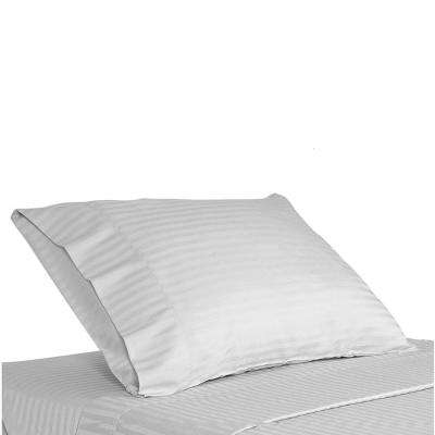 MOST COMFORTABLE PILLOW CASE 300TC 100% Cotton White Stripe weave Anti Mite,Anti Bacterial Envelope Closure & 2 Inch Hem