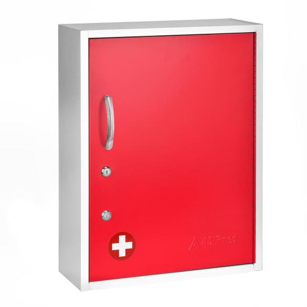 21 in. H x 16 in. W Dual Lock Surface-Mount Medical Security Cabinet in Red with Pull-Out Shelf and Document Pocket