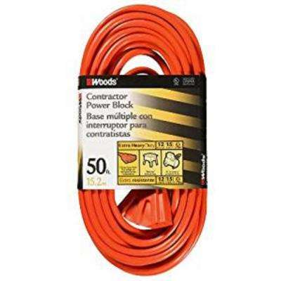 50 ft. 12/3 SJTW Muilt-Outlet (3) Heavy-Duty Extension Cord