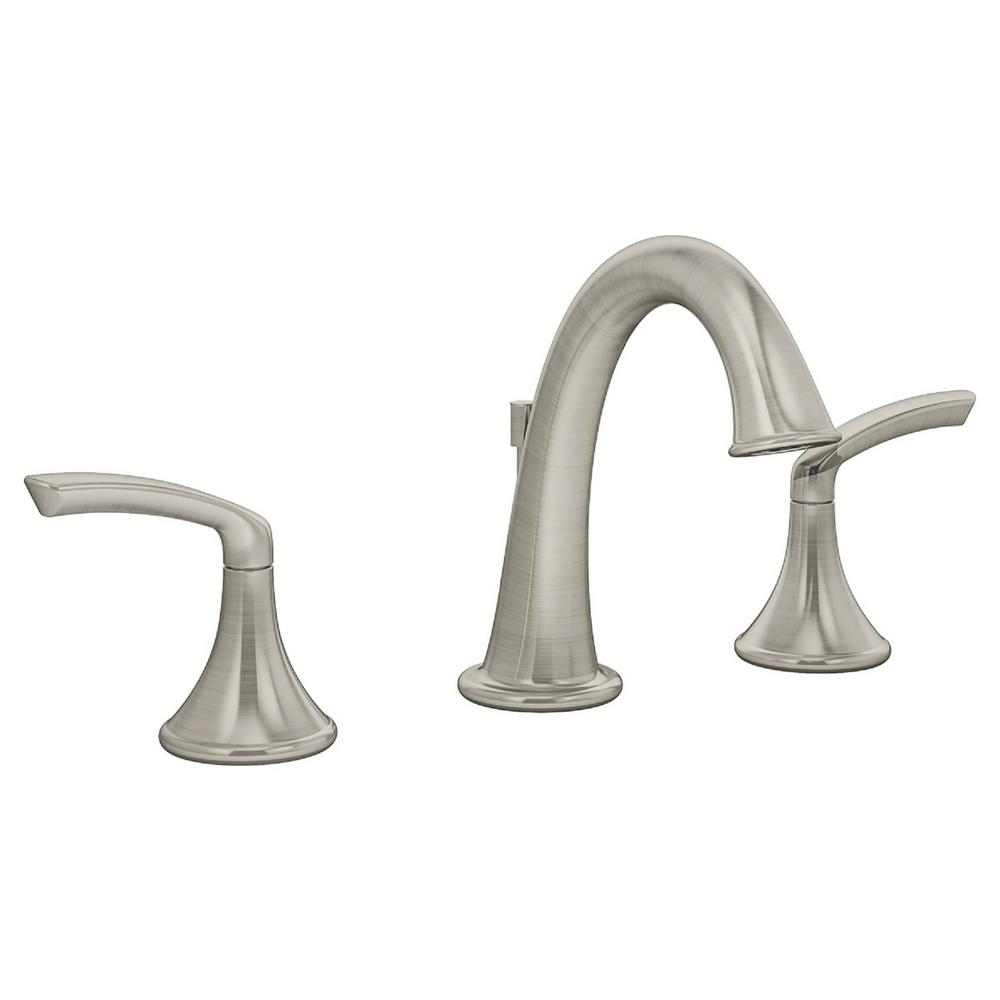 Symmons Elm 8 In. Widespread 2-Handle Bathroom Faucet With Pop-Up Drain Assembly In Satin Nickel