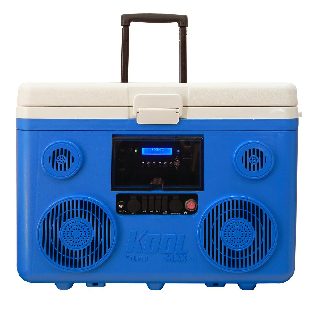KoolMAX 40 qt. Blue Wheeled Cooler, Bluetooth PA System and Power