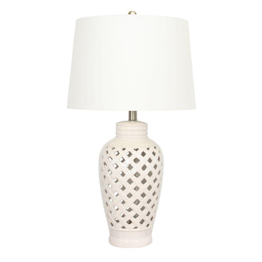 26 in. White Ceramic Table Lamp with Lattice Design