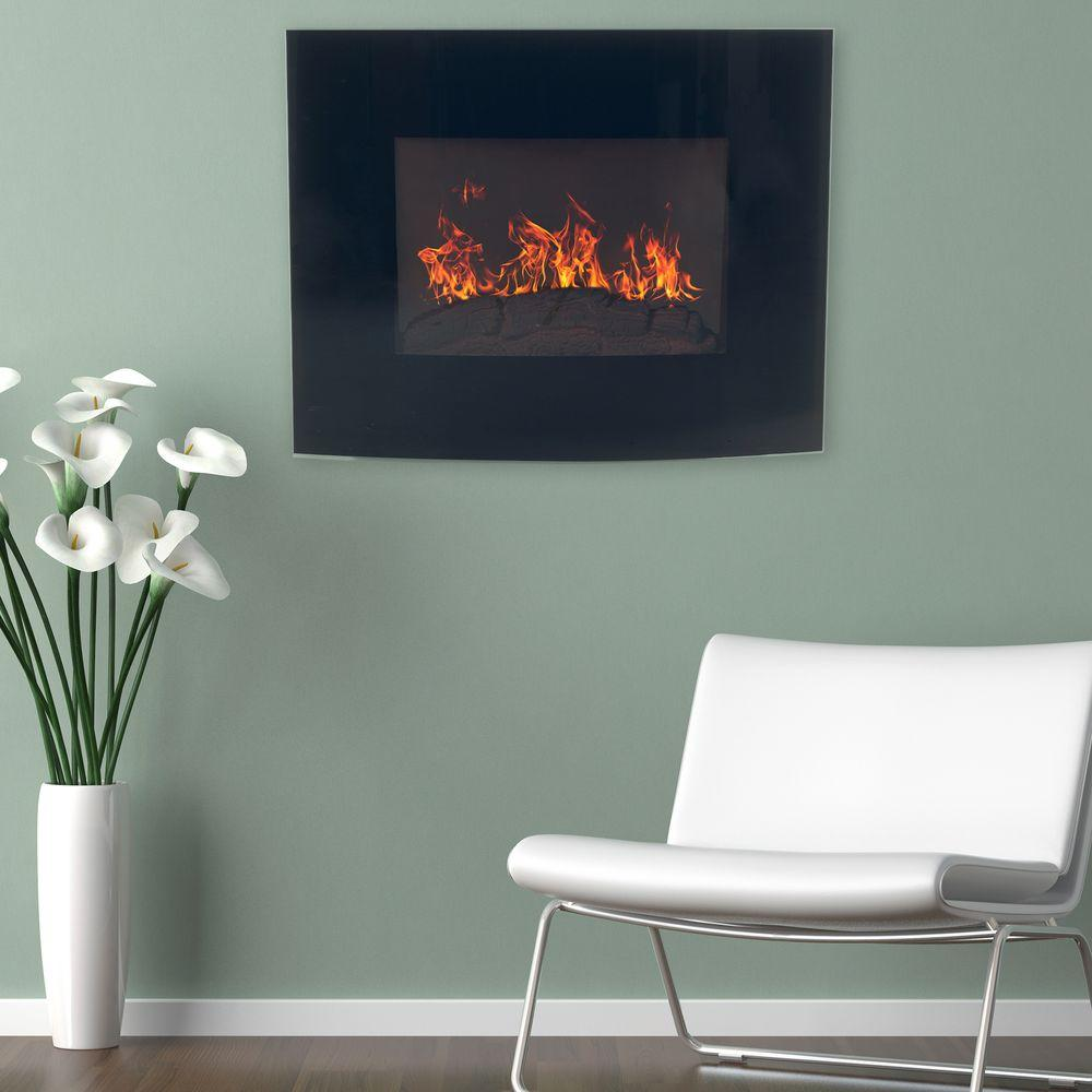 northwest 25 in curved glass electric fireplace wall mount and