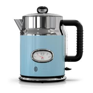 Retro 5-Cup Blue Stainless Steel Electric Kettle with Filter