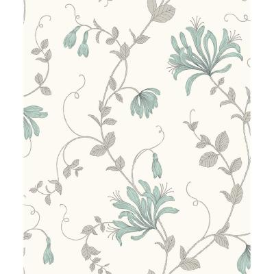 Barbara Turquoise Floral Trail Wallpaper