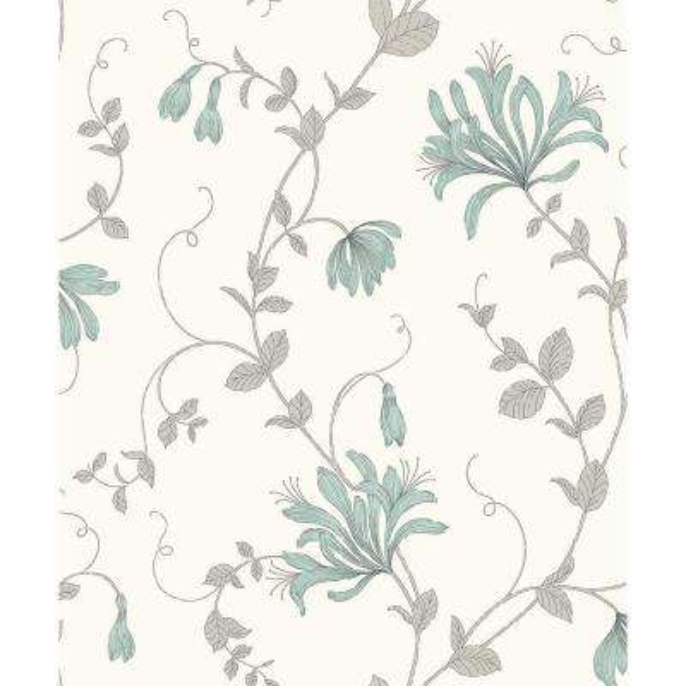 Barbara Turquoise Floral Trail Wallpaper Sample