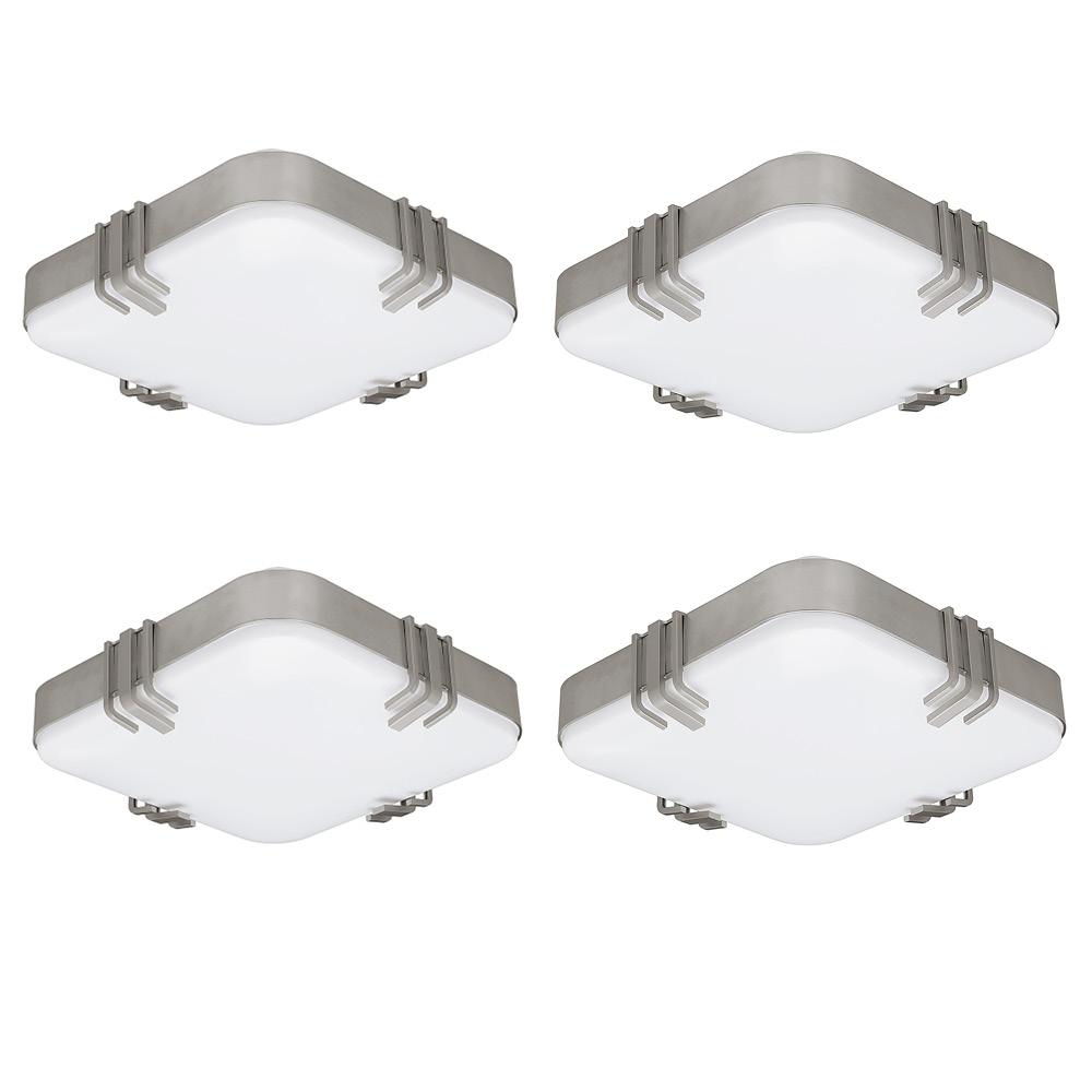 Hampton Bay Mission Industrial 14 in. Square Brushed Nickel LED Flush Mount Light 1430 Lumens Dimmable 3000K 4000K 5000K (4-Pack) was $237.58 now $67.88 (71.0% off)