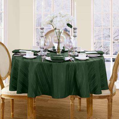 70 in. Round Hunter Elrene Denley Stripe Damask Fabric Tablecloth