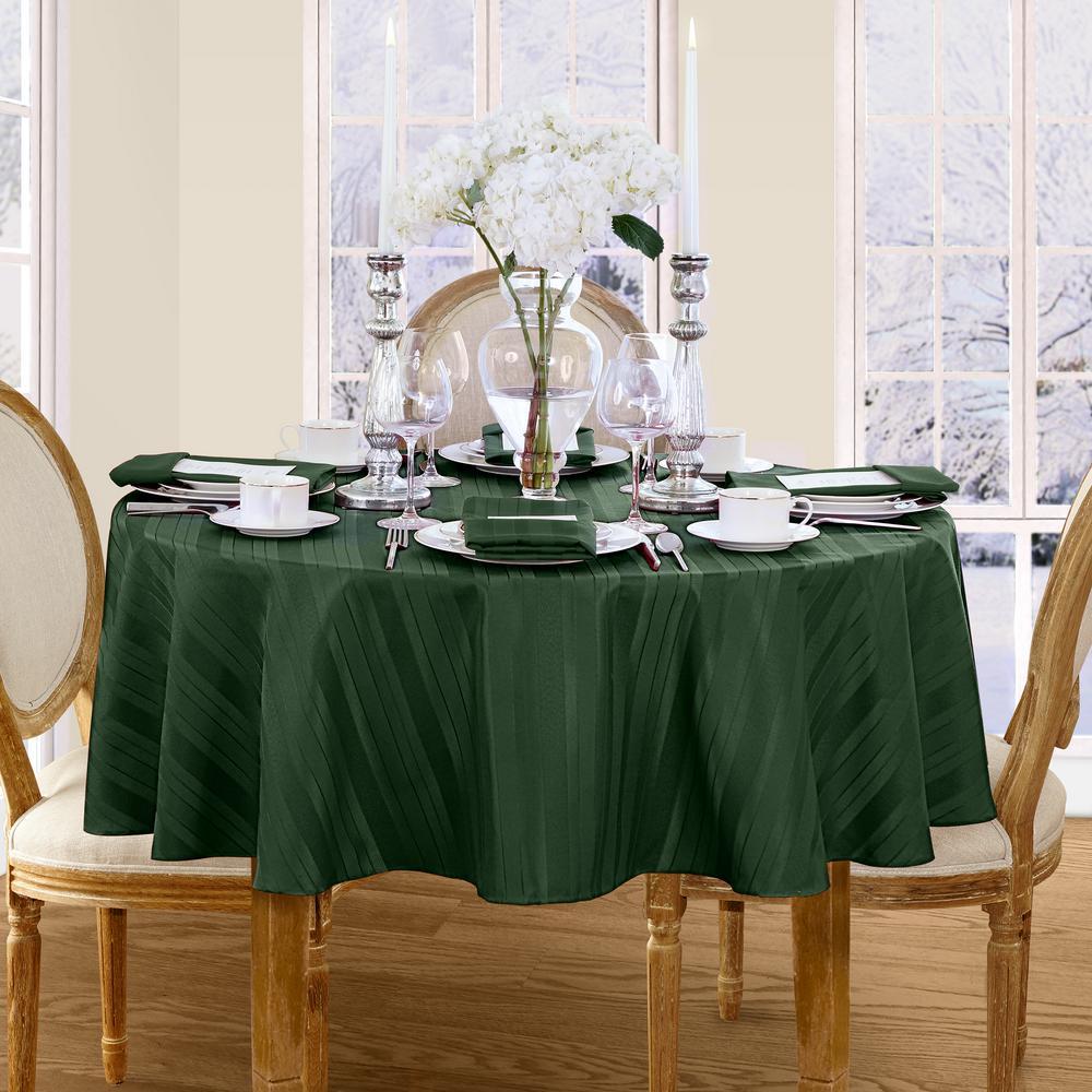 70 in. Round Hunter Elrene Denley Stripe Damask Fabric Tablecloth
