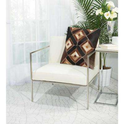 Four Eyed Diamonds 20 in. x 20 in. Brown Pillow