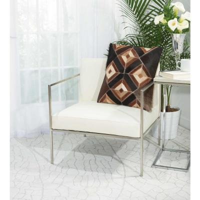 Four Eyed Diamonds Brown Geometric Polyester 20 in. x 20 in. Throw Pillow