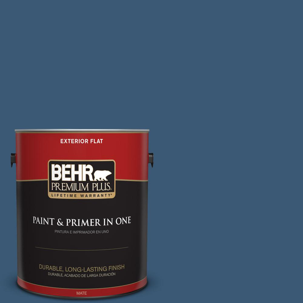 1 gal. #M500-6 Express Blue Flat Exterior Paint and Primer in