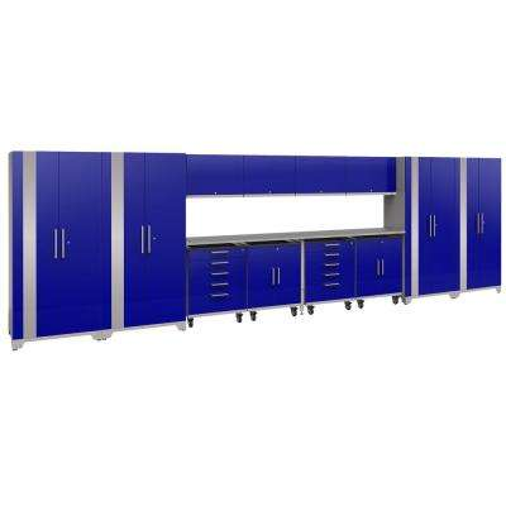 Performance Plus 2.0 80 in. H x 266 in. W x 24 in. D Steel Garage Cabinet Set in Blue (14-Piece)