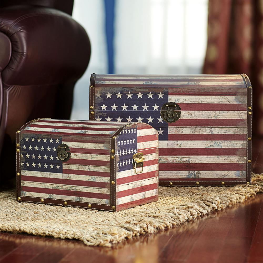 Household Essentials Red White and Blue PaintedTrunk
