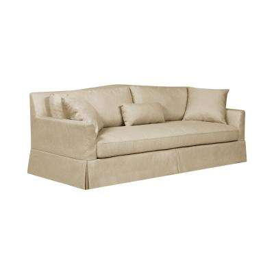 Sandy Skirted 92.3 in. Oatmeal Tan Polyester 3-Seater Camelback Sofa with Removable Cushions