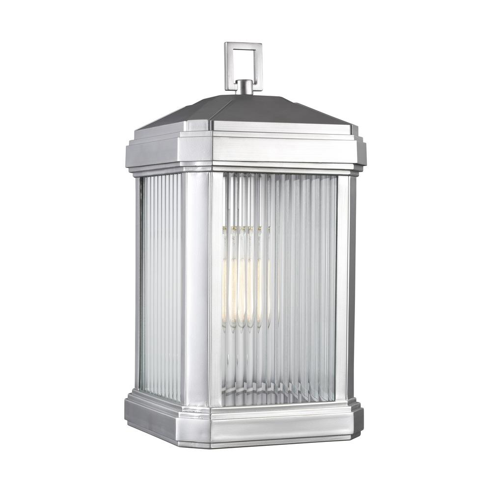 Sea Gull Lighting Gaelan 1-Light Painted Brushed Nickel Outdoor 16.75 in. Wall Lantern Sconce with LED Bulb