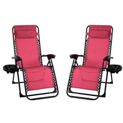 Metal Outdoor Recliner Gravity Chairs in Maroon (2-Pack)