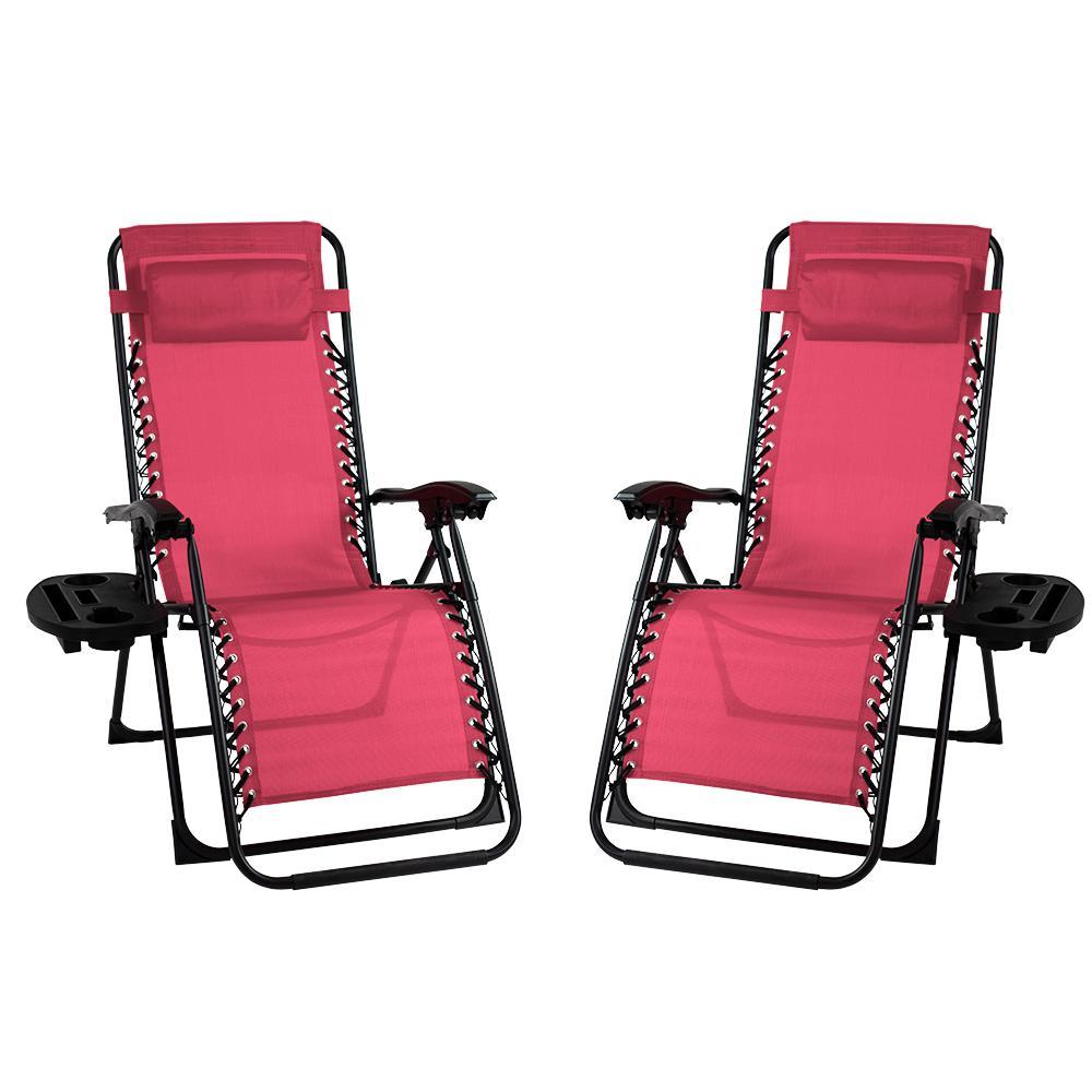 Metal Outdoor Recliner Gravity Chairs in Maroon (2-Pack)