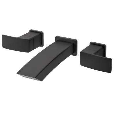Kenzo 2-Handle Wall Mount Bathroom Faucet Trim Kit in Matte Black (Valve Not Included)