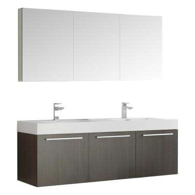 Vista 59 in. Vanity in Gray Oak with Acrylic Vanity Top in White with White Basins and Mirrored Medicine Cabinet