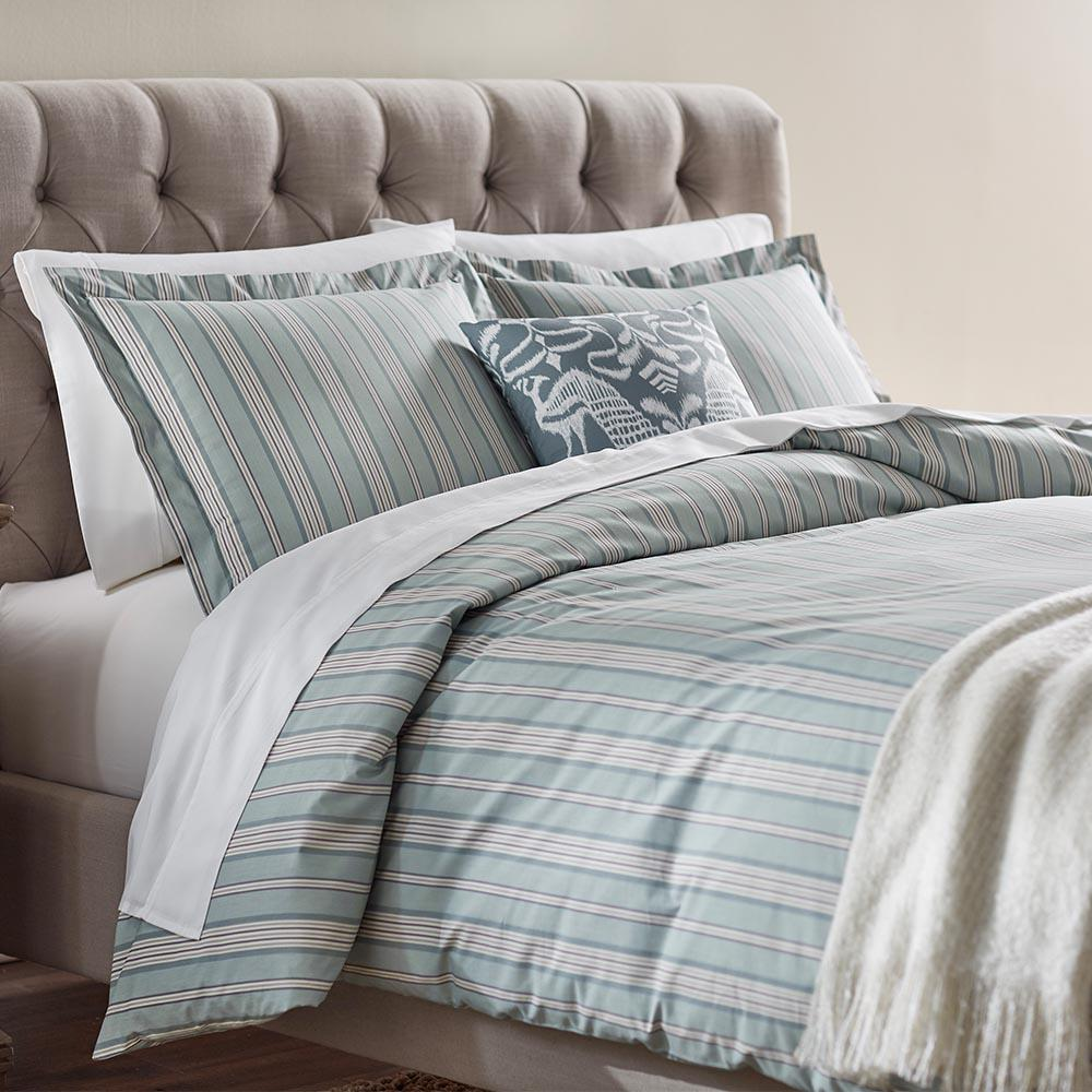 Home Decorators Collection Nuri Stripe Blue Haze King Duvet