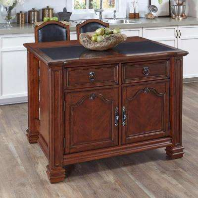 Santiago Cognac Kitchen Island With Seating