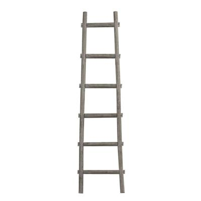 Transitional Style 72 in. H Gray Wooden Decor Ladder with 6 Steps