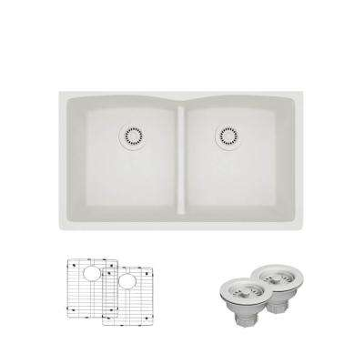 Undermount Composite Granite 33 in. Double Bowl Kitchen Sink in Ivory